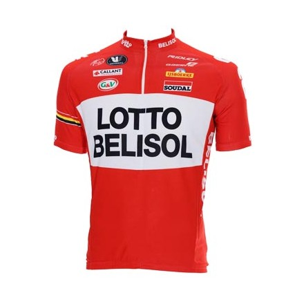 Lotto Belisol Cycling Jersey Red White Quarter Zip Jersey 2014 c99a30843